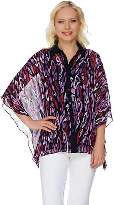 Bob Mackie Bob Mackie's Animal Printed Button Front Caftan Top and Tank Set