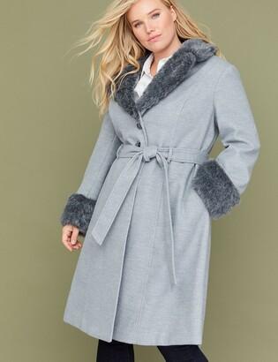 Lane Bryant Gray Wrap Coat with Faux Fur