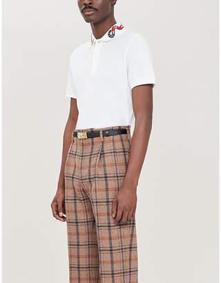 Gucci Snake-embroidered cotton-piqué polo shirt