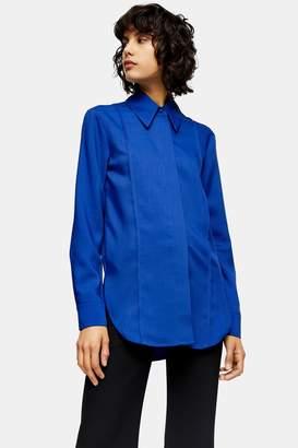 Topshop Cobalt Blue Pintuck Shirt