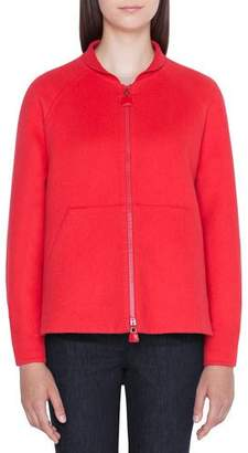 Akris Valerie Ribbed Cashmere Zip-Front Hoodie