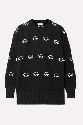 Kenzo Embellished Embroidered Jacquard-knit Sweater - Black