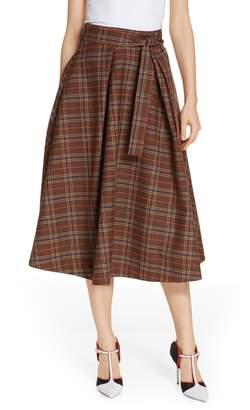 MSGM Tartan A-Line Midi Skirt