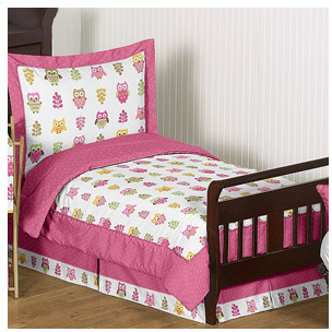 JoJo Designs Sweet Happy Owl 5 Piece Toddler Bedding Set