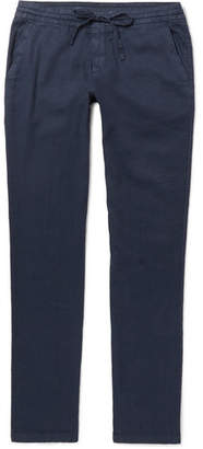 Loro Piana Slim-Fit Stretch Linen and Cotton-Blend Drawstring Trousers - Men - Navy