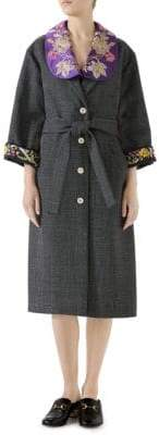 Gucci Embroidered Wool Robe Coat