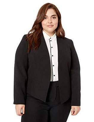 Nine West Women's Size Plus V-Neck Stand Collar Crepe KISS Front Jacket