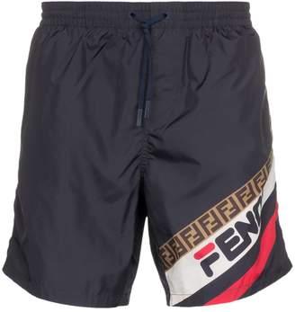 Fendi fila logo swim shorts