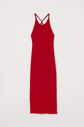 H&M Fitted Ribbed Dress - Red