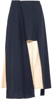 Marni Cutout Wool-Blend And Satin Skirt