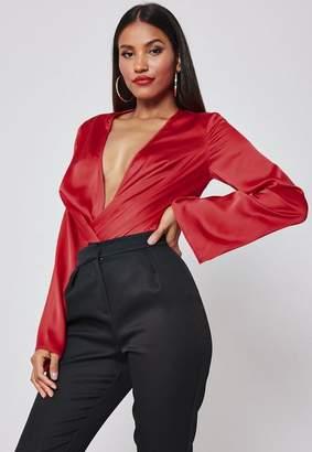 Missguided Red Satin Drape Plunge Bodysuit
