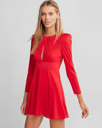 Express Plunging Front Fit And Flare Dress