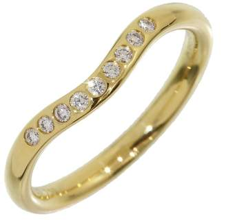 Tiffany & Co. 18K Yellow Gold Elsa Peretti Diamonds Curved Ring Size 4.75