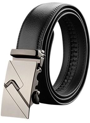 Unique Bargains Men Automatic Buckle Holeless Decorative Stitch PU Ratchet Belt Black 115CM