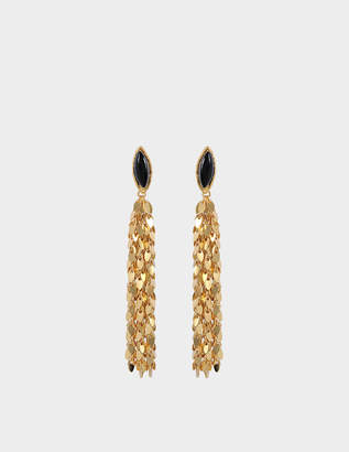 Sylvia Toledano Leaves Earrings in Gold-Plated Brass with Black Onyx