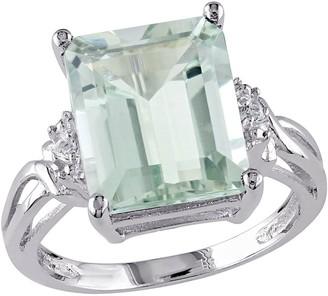 5.60cttw Emerald Cut Green Quartz Ring, Sterl ing Silver