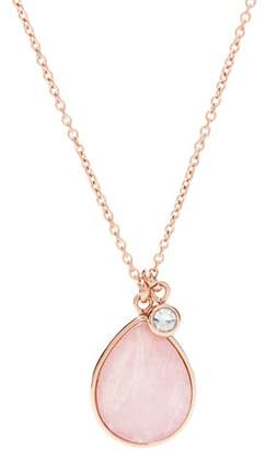 Fossil Teardrop Rose Quartz Short Necklace Jewelry