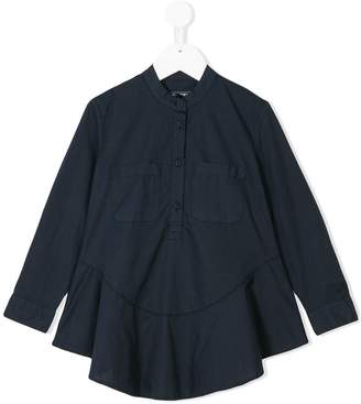 European Culture Kids mandarin neck flared shirt