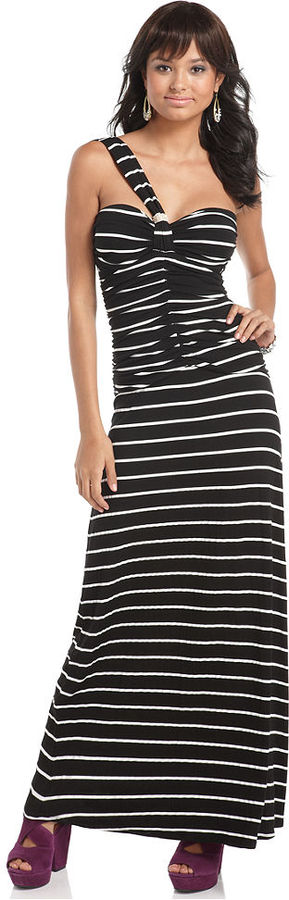 Baby Phat Dress, Sleeveless One Shoulder Ruched Striped Maxi