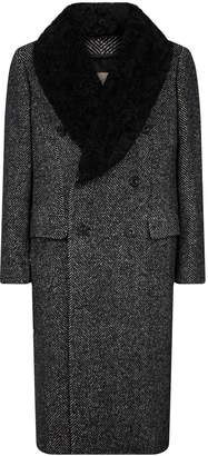 Burberry Shearling Collar Double-Breasted Coat