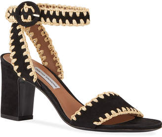 Tabitha Simmons Leticia Whipstitched Suede Ankle-Wrap Sandals, Black