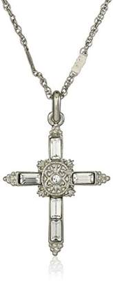 Symbols of Faith Inspirations Silver-Tone Crystal Cross Pendant Necklace