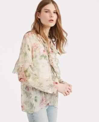 Ralph Lauren Floral Lace-Up Silk Blouse