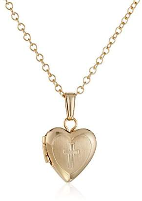 Children's 14k -Filled Heart Locket Pendant Necklace with Engraved Cross