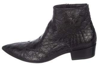 Gianni Barbato Embossed Leather Ankle Boots