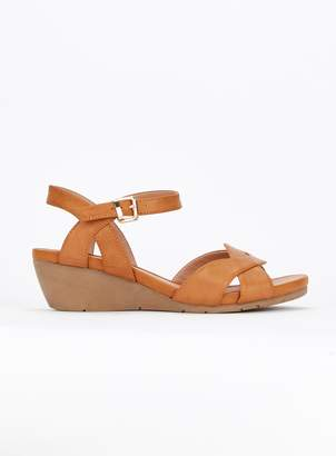 f02085aef21 Evans EXTRA WIDE FIT Tan Comfort Wedge Sandals