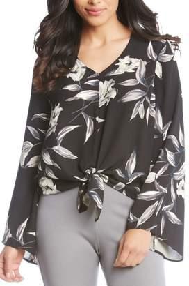 Karen Kane Bell Sleeve Tie Front Top