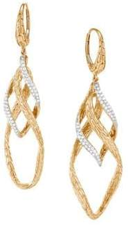John Hardy 14K Gold Diamond Drop Earrings