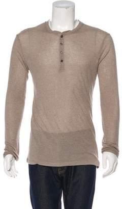 Gucci Silk-Blend Rib Knit Henley T-Shirt