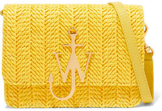 J.W.Anderson Logo Mini Raffia And Leather Shoulder Bag