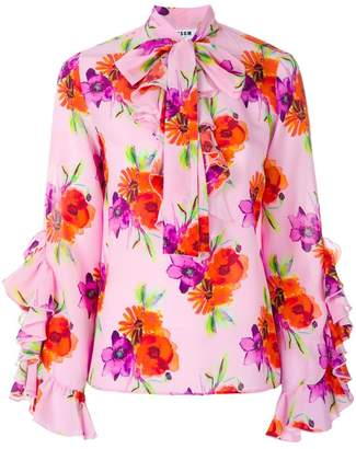 MSGM floral print ruffle blouse