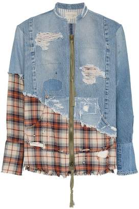 Greg Lauren check distressed cotton bomber jacket