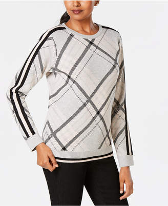 Charter Club Varsity-Stripe Plaid Sweater