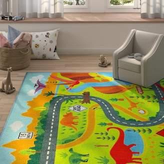 Zoomie Kids Weranna Dinosaur Dino Safari Road Map Educational Learning Green/Blue Indoor/Outdoor Area Rug Rug