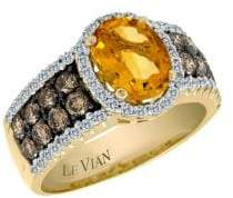 LeVian Le Vian Chocolatier Vanilla Diamond, Chocolate Diamond, Cinnamon Citrine and 14K Yellow Gold Ring 0.57 TCW
