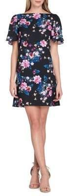 Tahari Arthur S. Levine Floral A-Line Scuba Dress