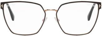 Tom Ford Black and Gold Blue Block Thin Angular Glasses