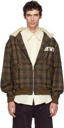 Loewe Brown Tartan Zip Shearling Hood Jacket