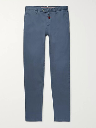 Isaia Blue Slim-FIt Stretch-Cotton Twill Chinos - Men - Blue