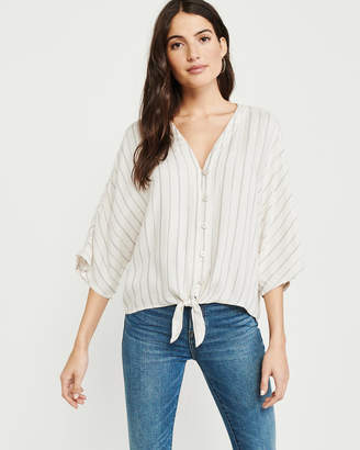 Abercrombie & Fitch Tie-Front Flannel Blouse