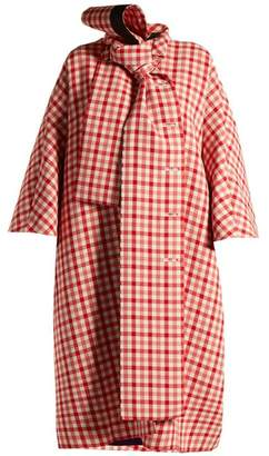 Balenciaga - Gingham Tie Neck Wool Blend Coat - Womens - Red White
