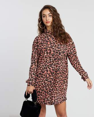 Missguided Oversized Leopard Jersey Shirt Dress