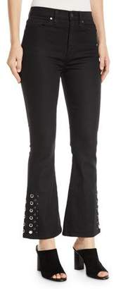Hudson Holly High-Rise Cropped Flare-Leg Jeans with Grommets