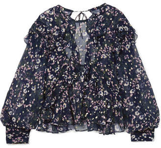 Isabel Marant Muster Floral-print Fil Coupé Silk-blend Georgette Blouse - Midnight blue
