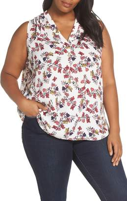 Vince Camuto Sleeveless Floral V-Neck Blouse