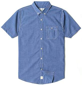 Chain Stitch Men's Regular Fit Short Sleeve Button Down Casual Chambray Shirt